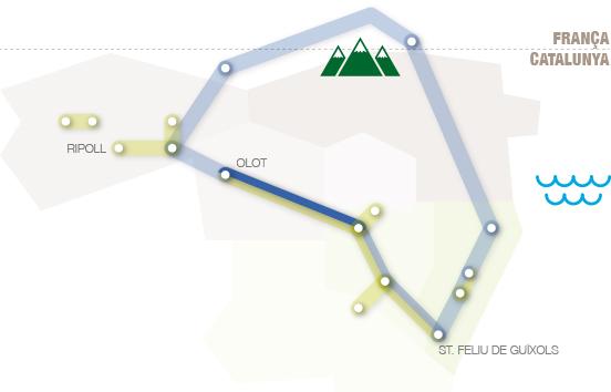 situació del carrilet 1 dins les comarques gironines