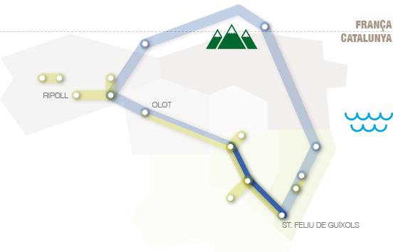 situació de la ruta dins les comarques gironines