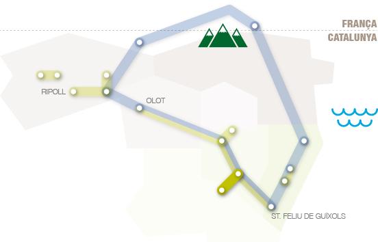 Situació de la ruta termal dins les comarques gironines