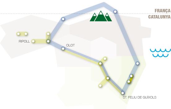 Situació de la ruta del tren petit dins les comarques gironines